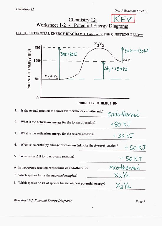 Worksheet 1-2 Potential Energy Diagram Answers
